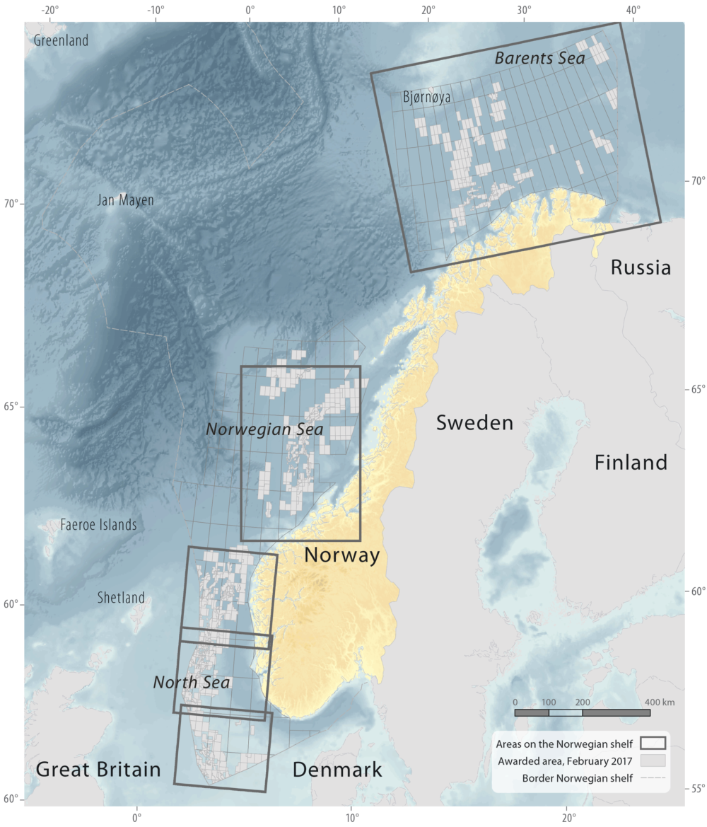 Areas on the Norwegian continental shelf
