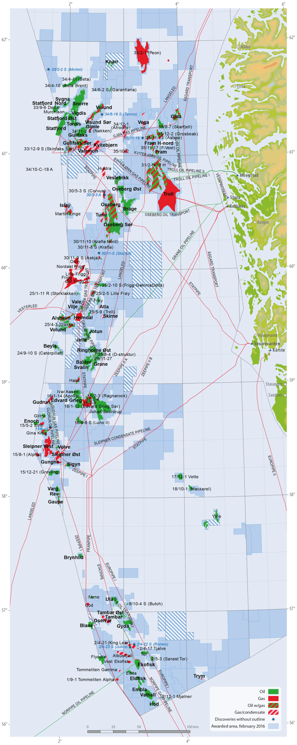 Fields and discoveries in the North Sea