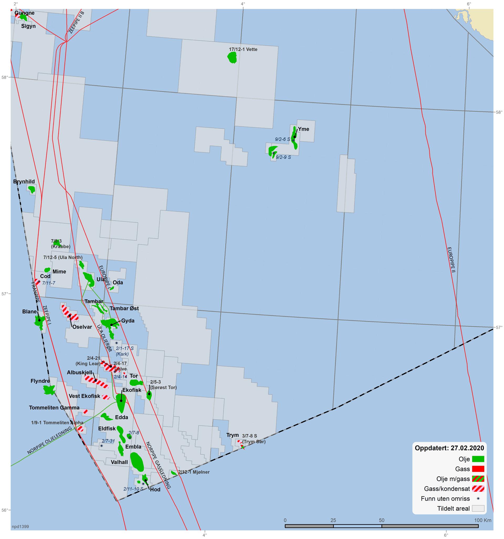 Felt og funn i den sørlige delen av Nordsjøen
