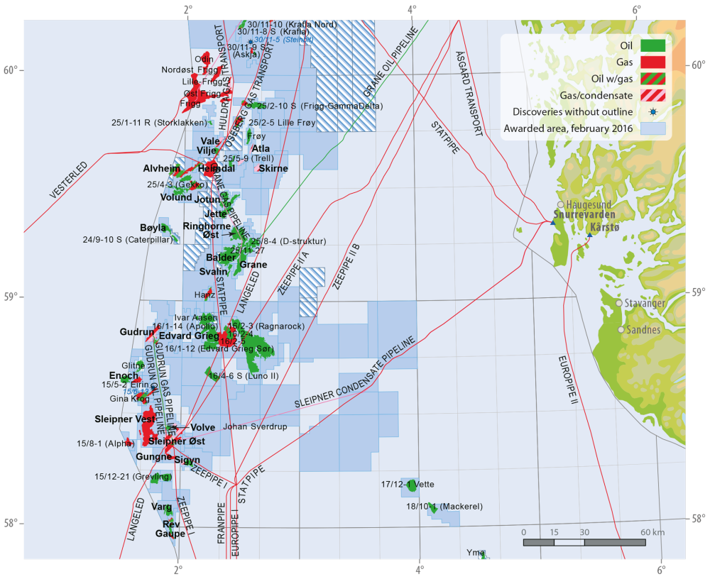 Fields and discoveries in the central North Sea