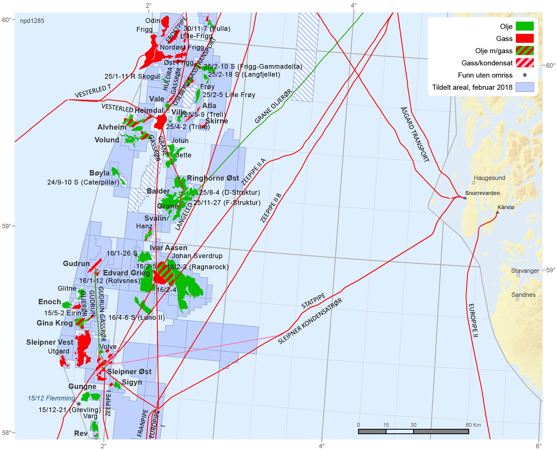 Felt og funn i den midtre delen av Nordsjøen