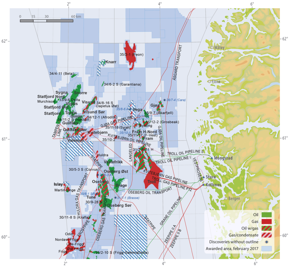 Fields and discoveries in the norhern North Sea