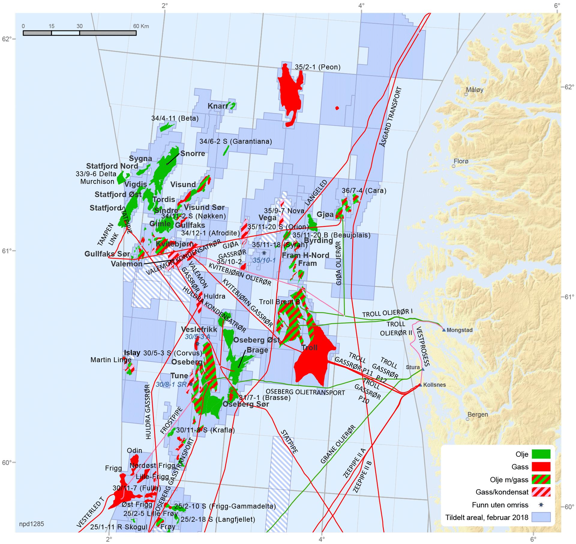 Felt og funn i den nordlige delen av Nordsjøen