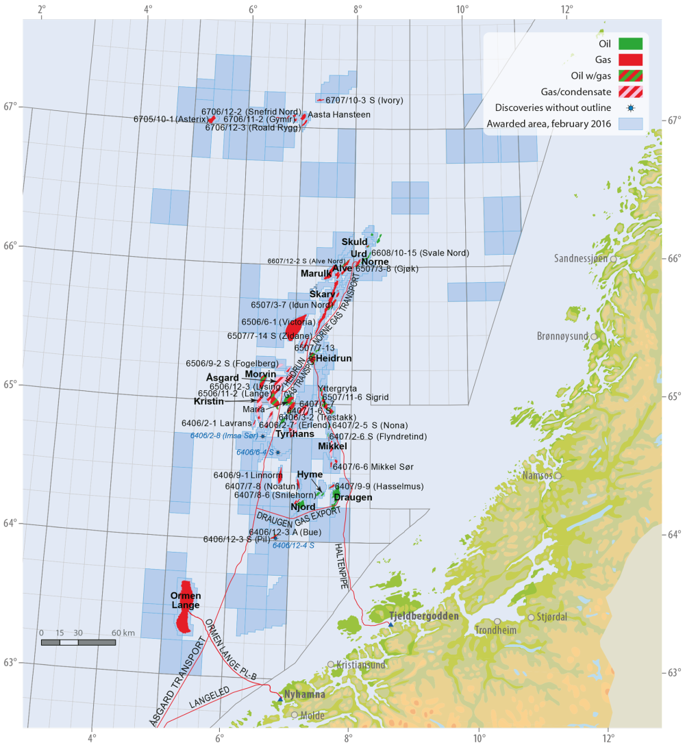 Fields and discoveries in the Norwegian Sea