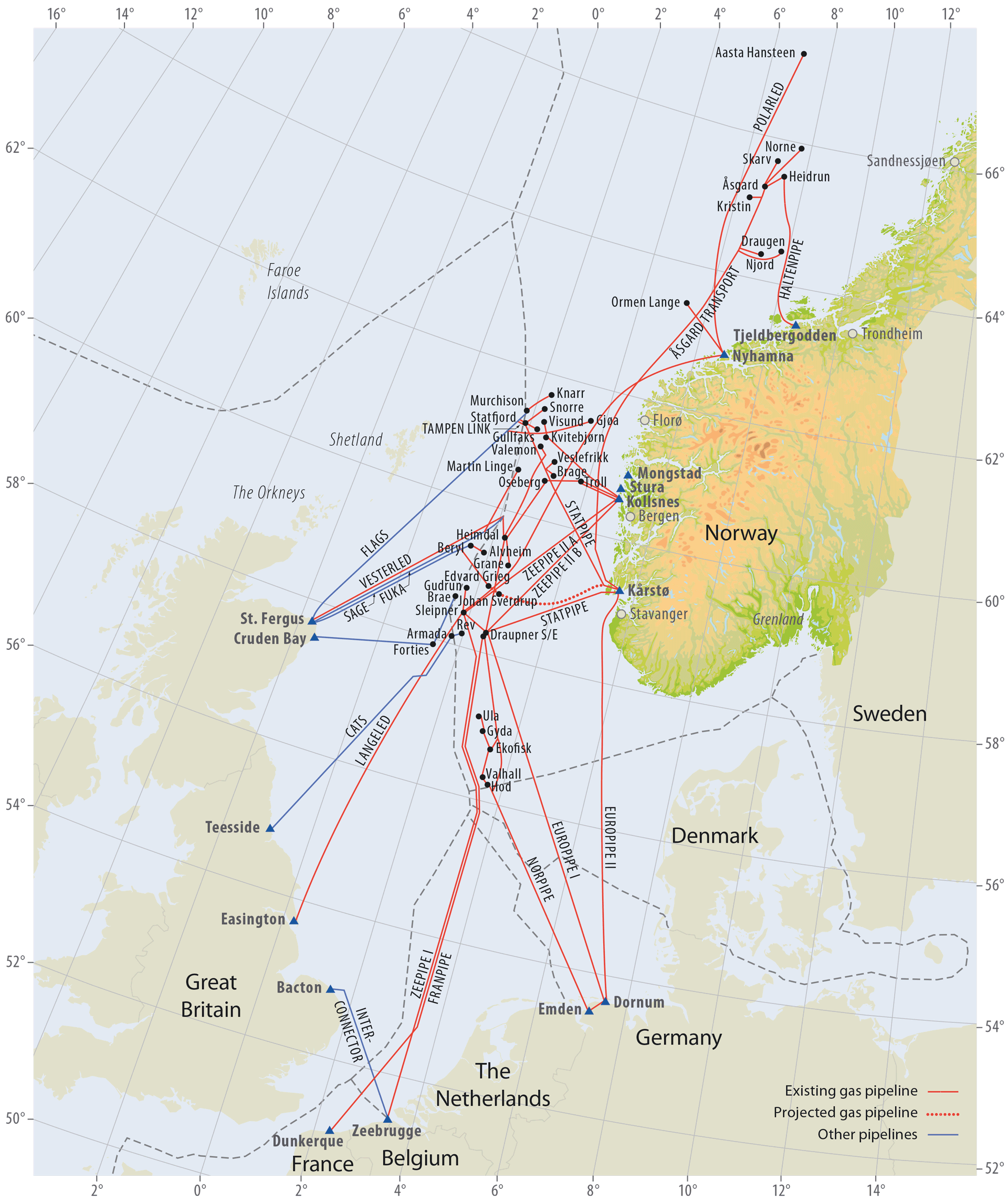 Gas pipelines on the Norwegian Continental Shelf
