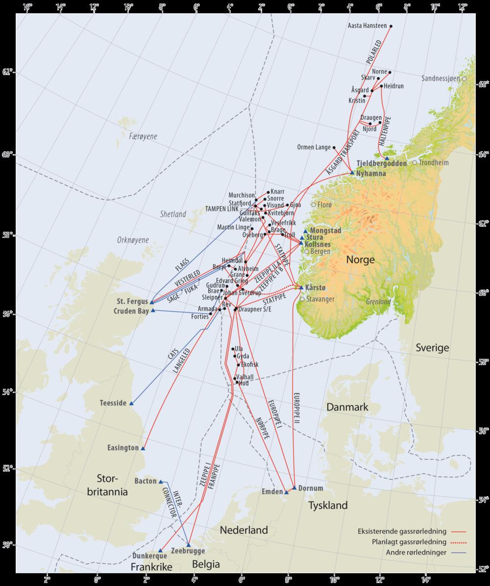 Gassrørledninger på norsk kontinentalsokkel