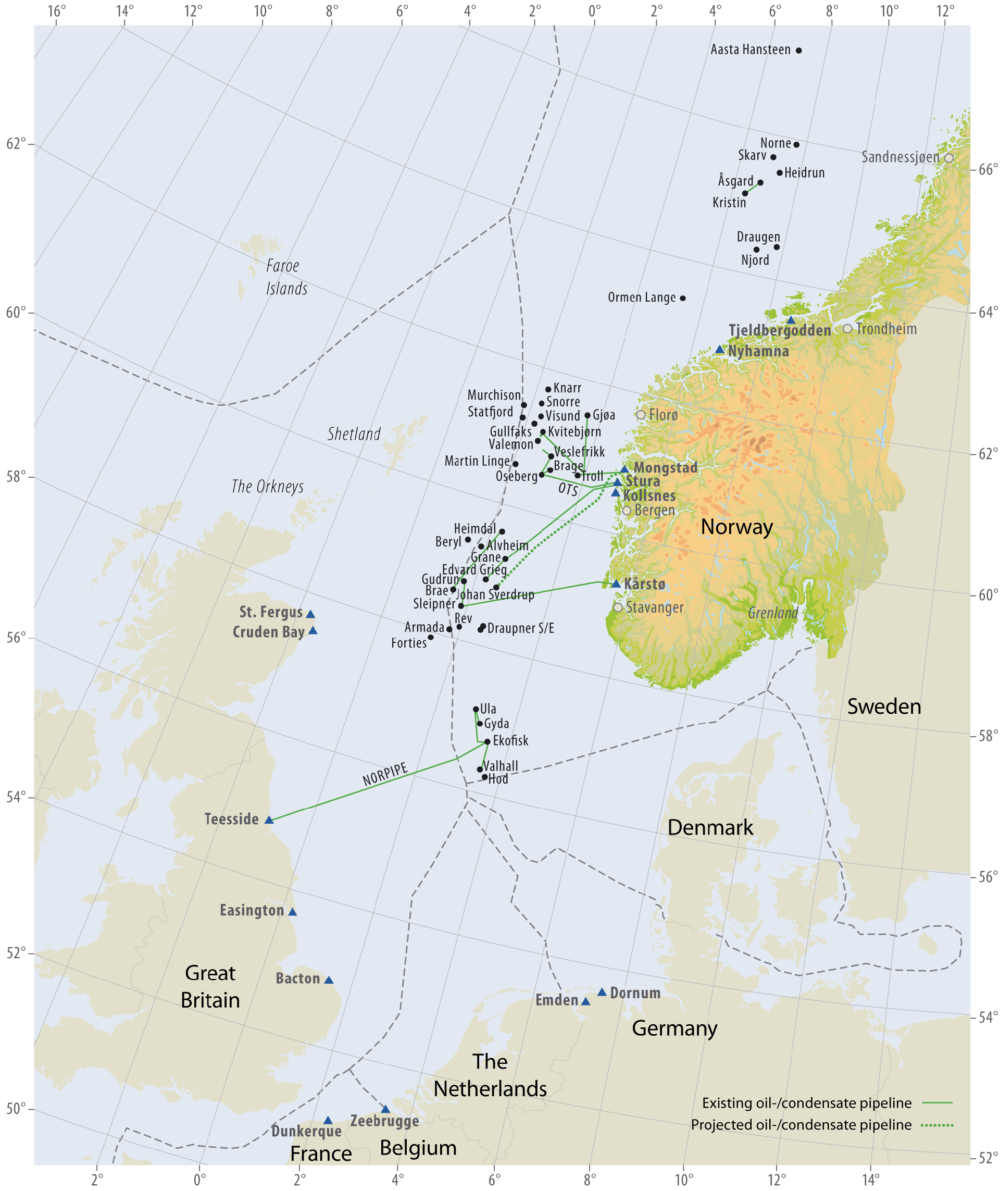 Oil pipelines on the Norwegian continental shelf