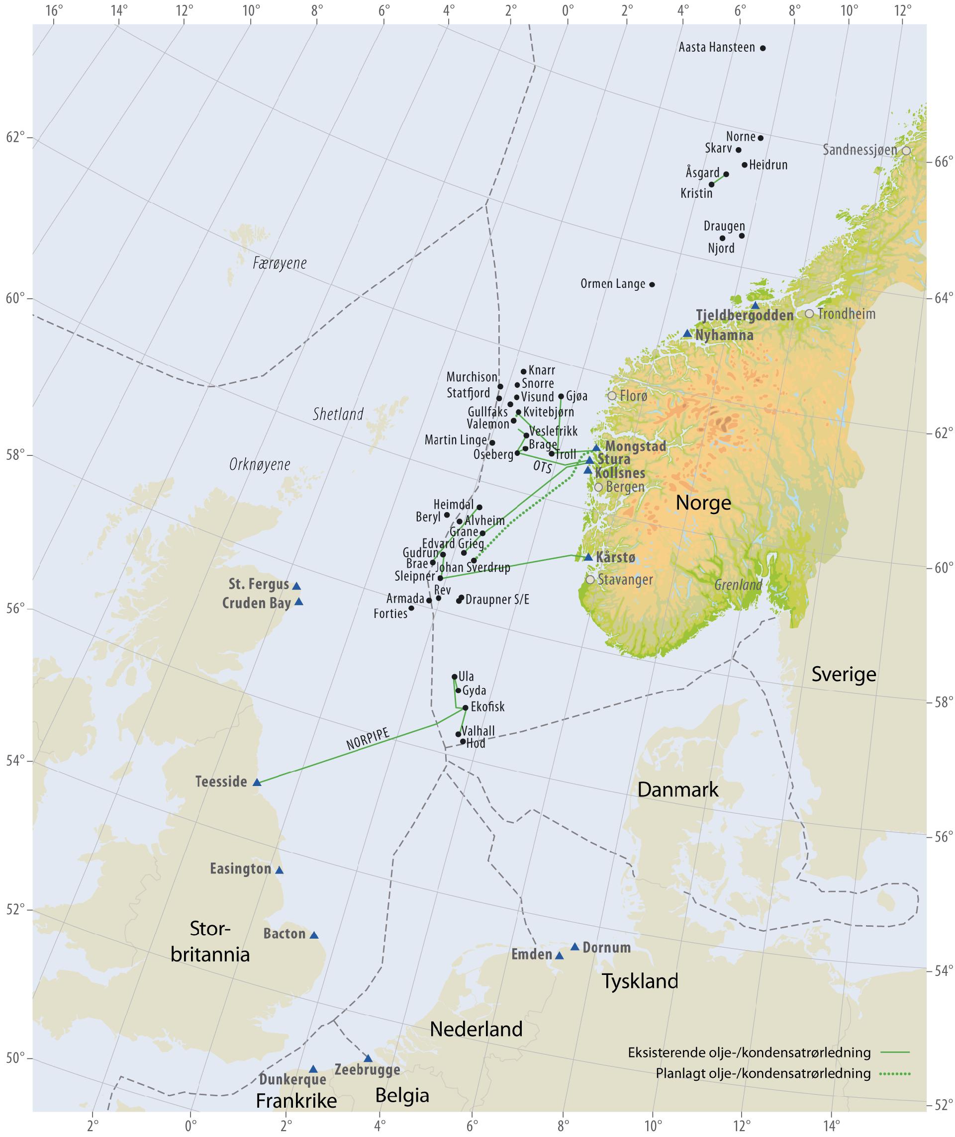Oljerør på norsk sokkel