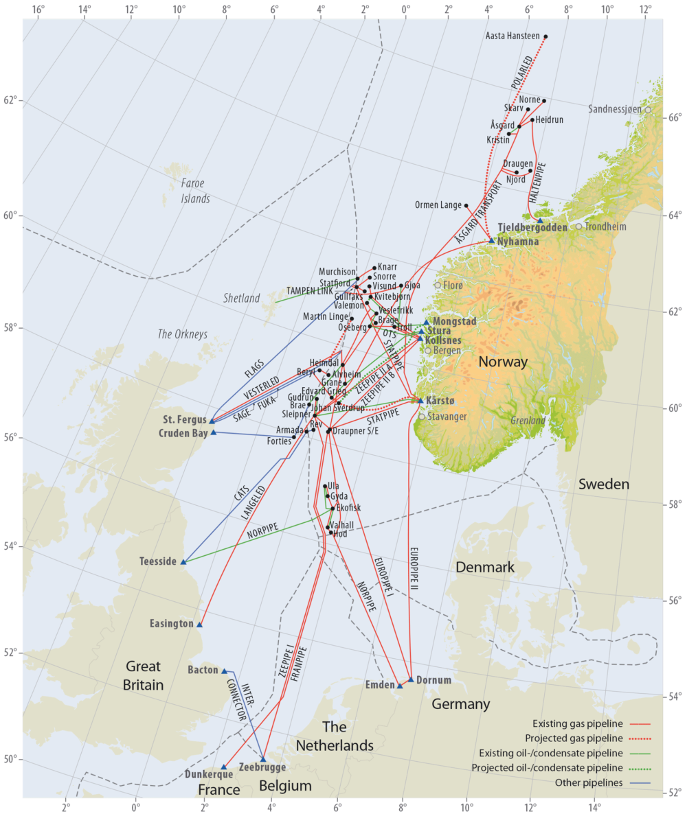 Oil, condensate and gas pipelines on the Norwegian Continental shelf