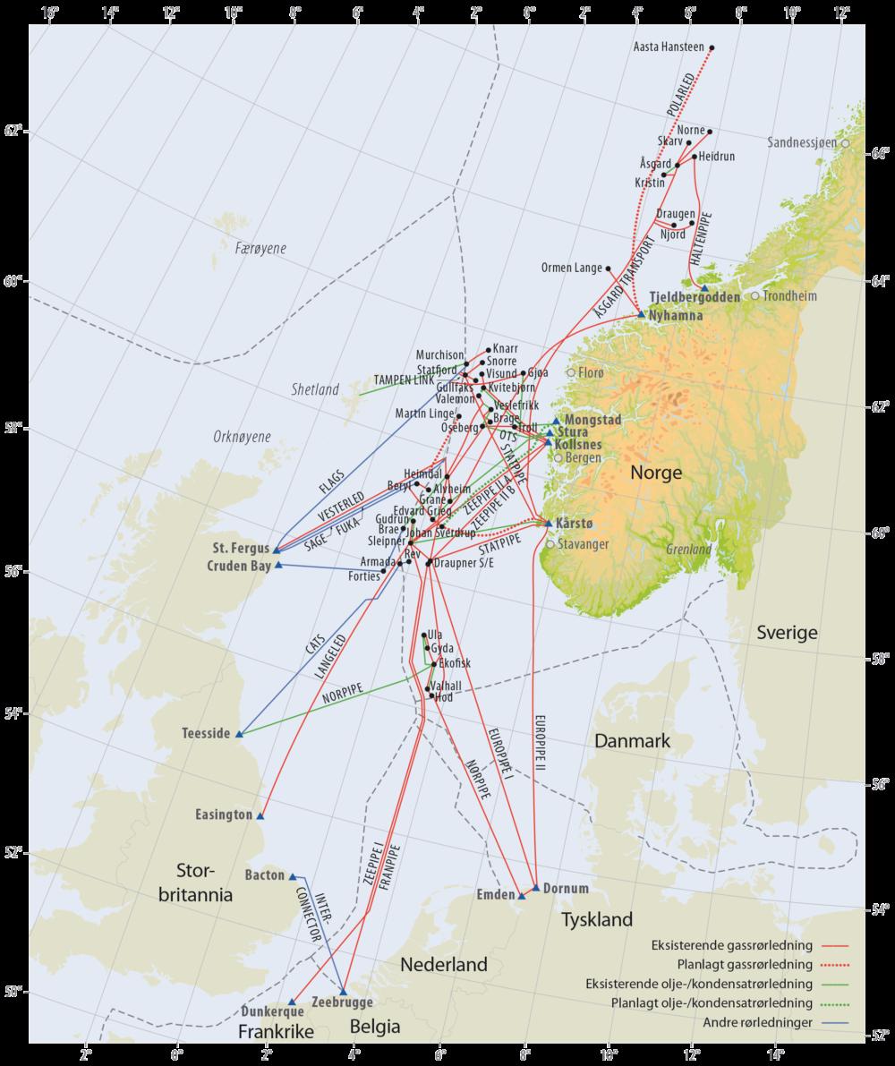 Olje, kondensat og gassrørledninger på norsk kontinentalsokkel