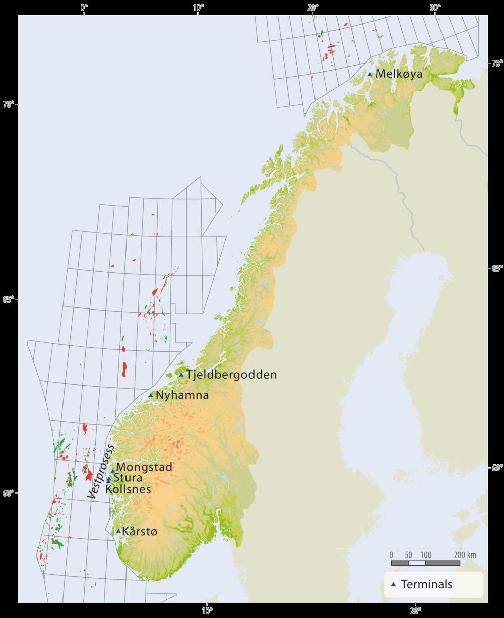 Onshore facilities in Norway