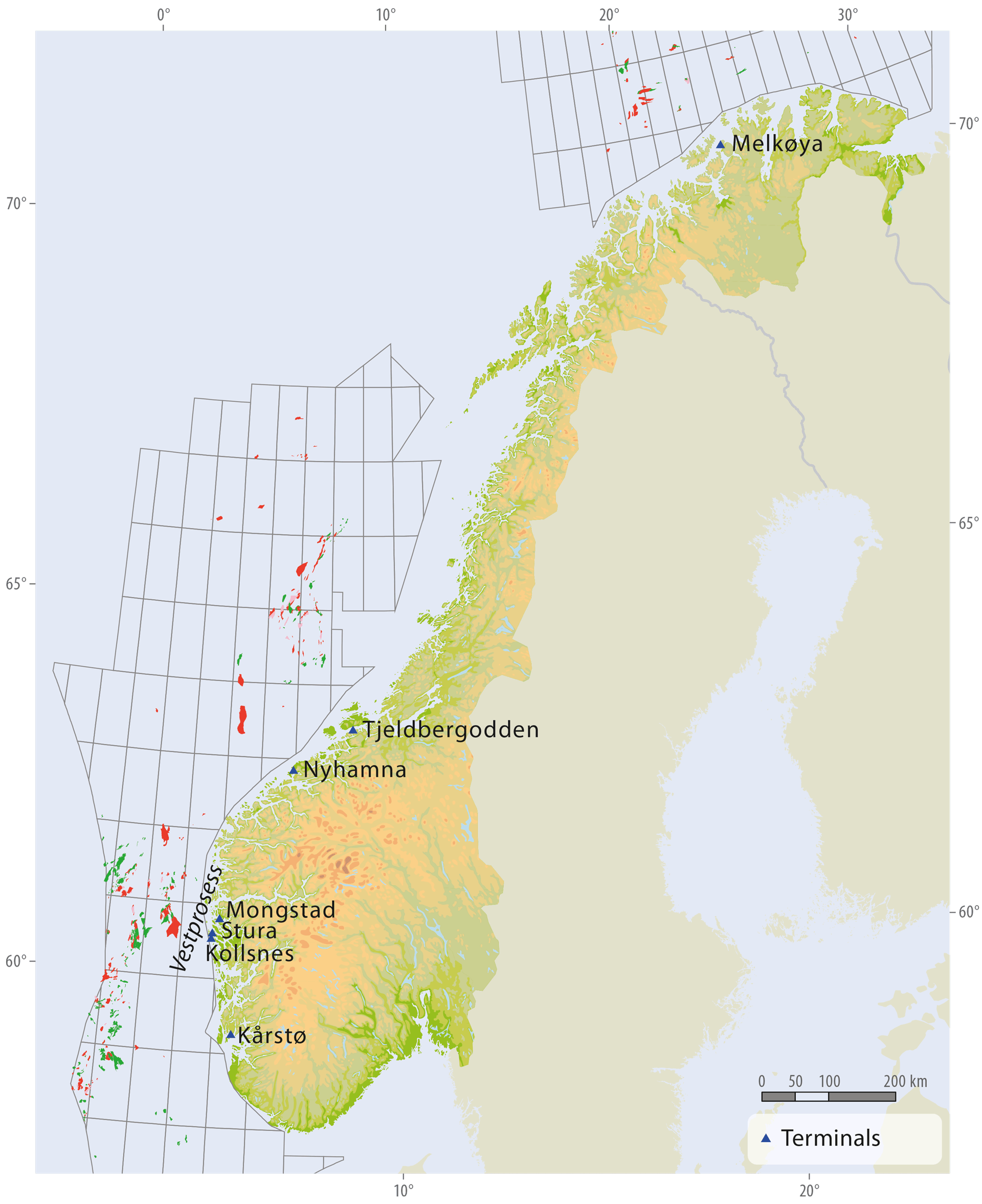 Onshore Facilites Norwegianpetroleumno - Norway map in english