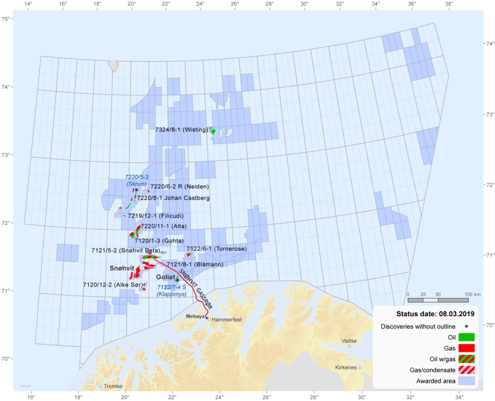 Fields and discoveries in the Barents Sea