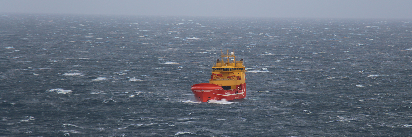 The suppply vessel Viking Queen is powered by LNG - picture taken from Edvard Grieg