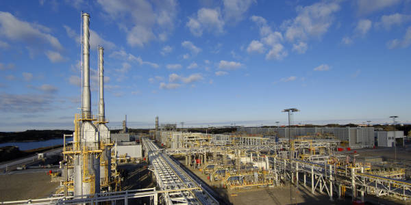 Picture of the av gas processing plant at Kollsnes