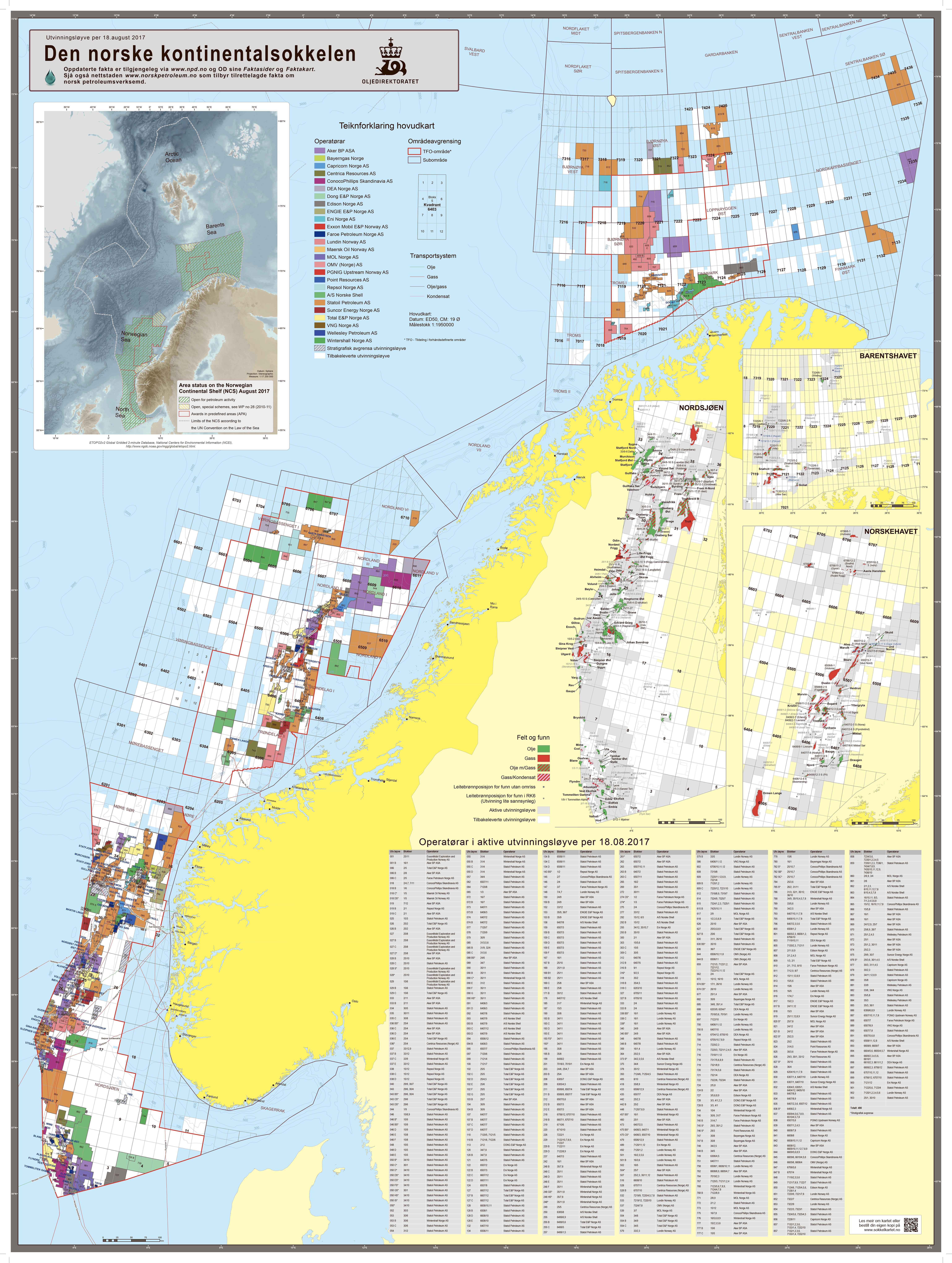 kart over norsk sokkel GH_Kontinentalsokkelkart_2017.indd   Norskpetroleum.no kart over norsk sokkel