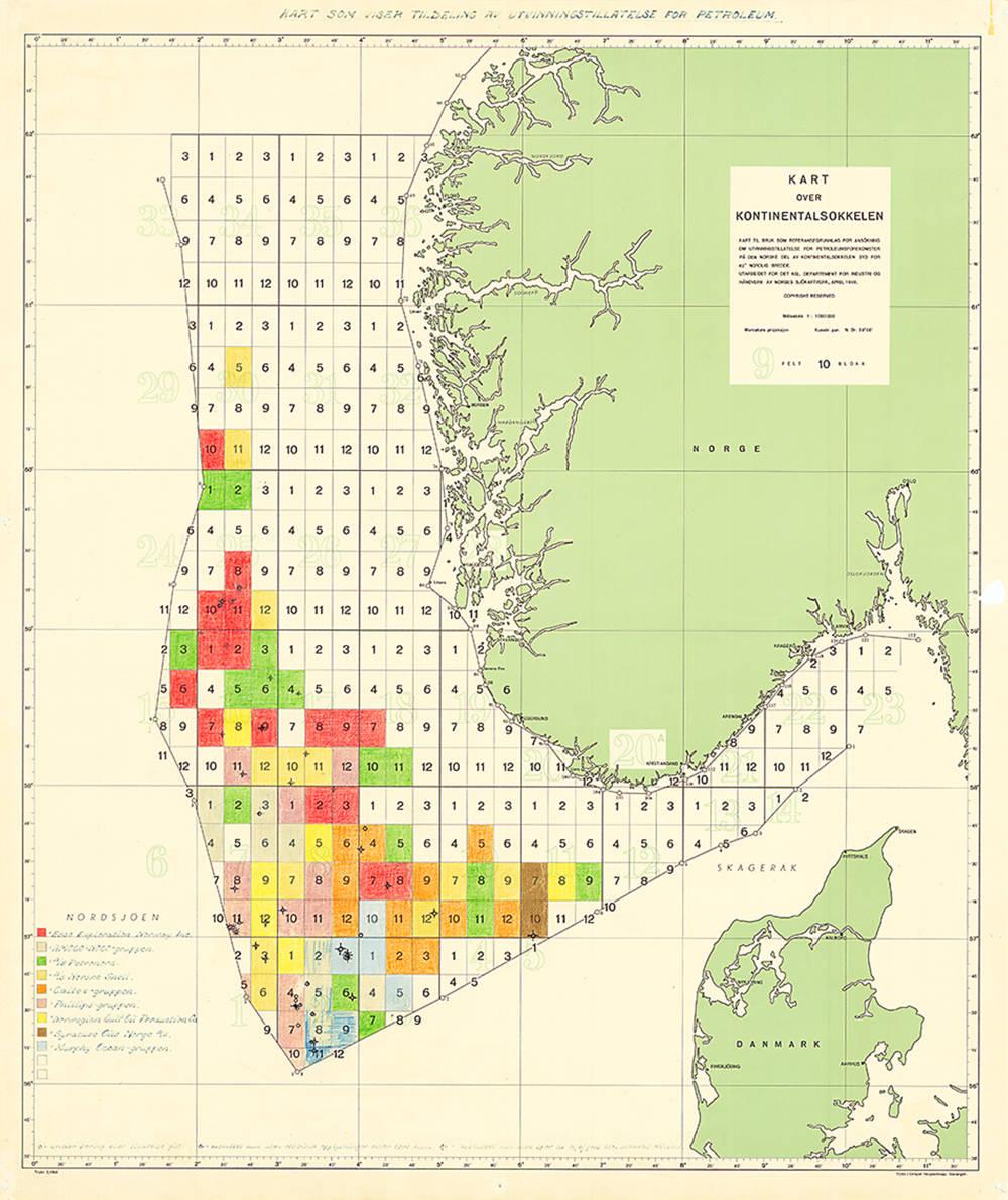 Kart over norsk sokkel fra 1965