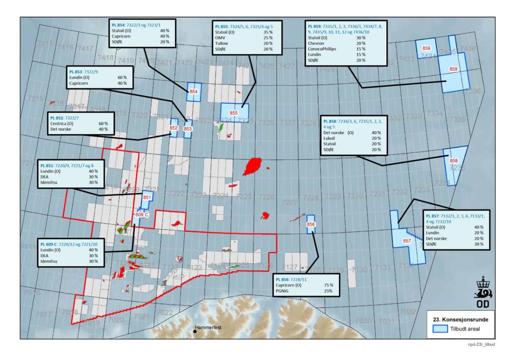 Kart over tildelte utvinningstillatelser 23. konsesjonsrunde