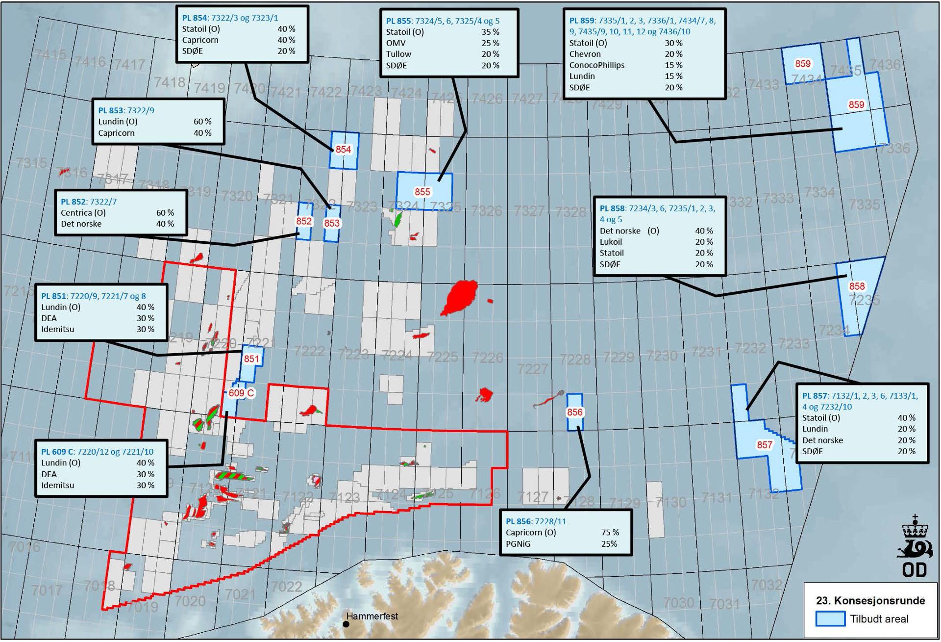 kart over runde Kart over tildelte utvinningstillatelser 23. konsesjonsrunde  kart over runde